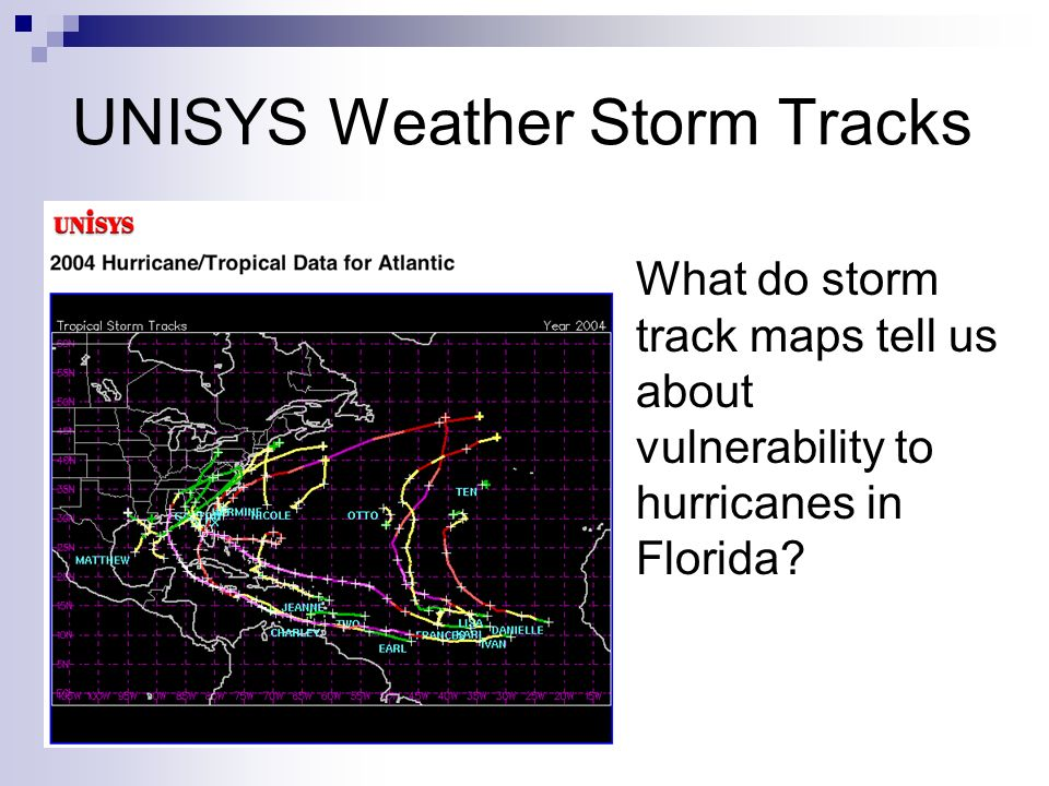 UNISYS Weather Storm Tracks What do storm track maps tell us about vulnerability to hurricanes in Florida