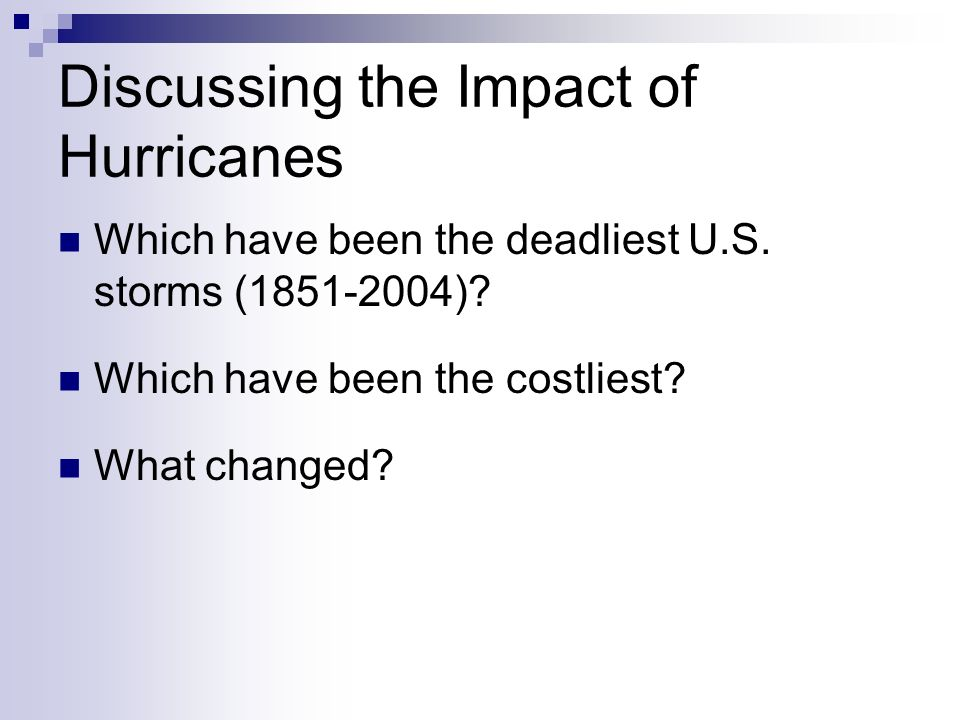 Discussing the Impact of Hurricanes Which have been the deadliest U.S.