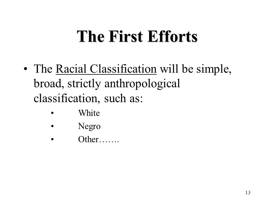 13 The First Efforts The Racial Classification will be simple, broad, strictly anthropological classification, such as: White Negro Other…….