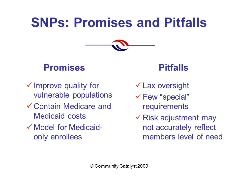 © Community Catalyst 2009 SNPs: Promises and Pitfalls Promises Improve quality for vulnerable populations Contain Medicare and Medicaid costs Model for Medicaid- only enrollees Pitfalls Lax oversight Few special requirements Risk adjustment may not accurately reflect members level of need