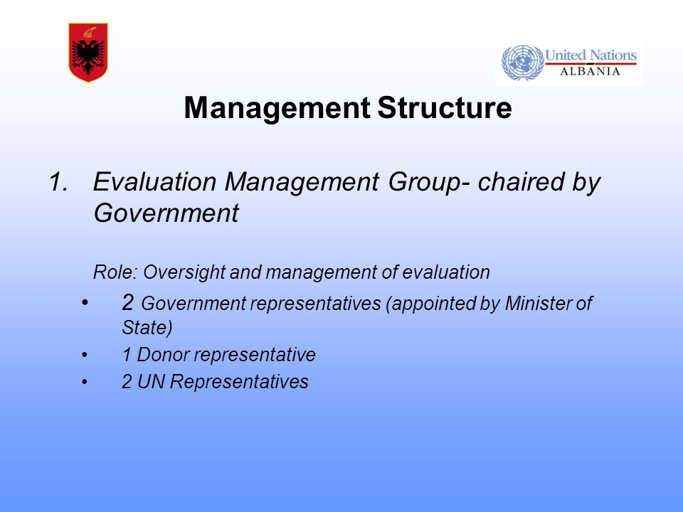 1.Evaluation Management Group- chaired by Government Role: Oversight and management of evaluation 2 Government representatives (appointed by Minister of State) 1 Donor representative 2 UN Representatives