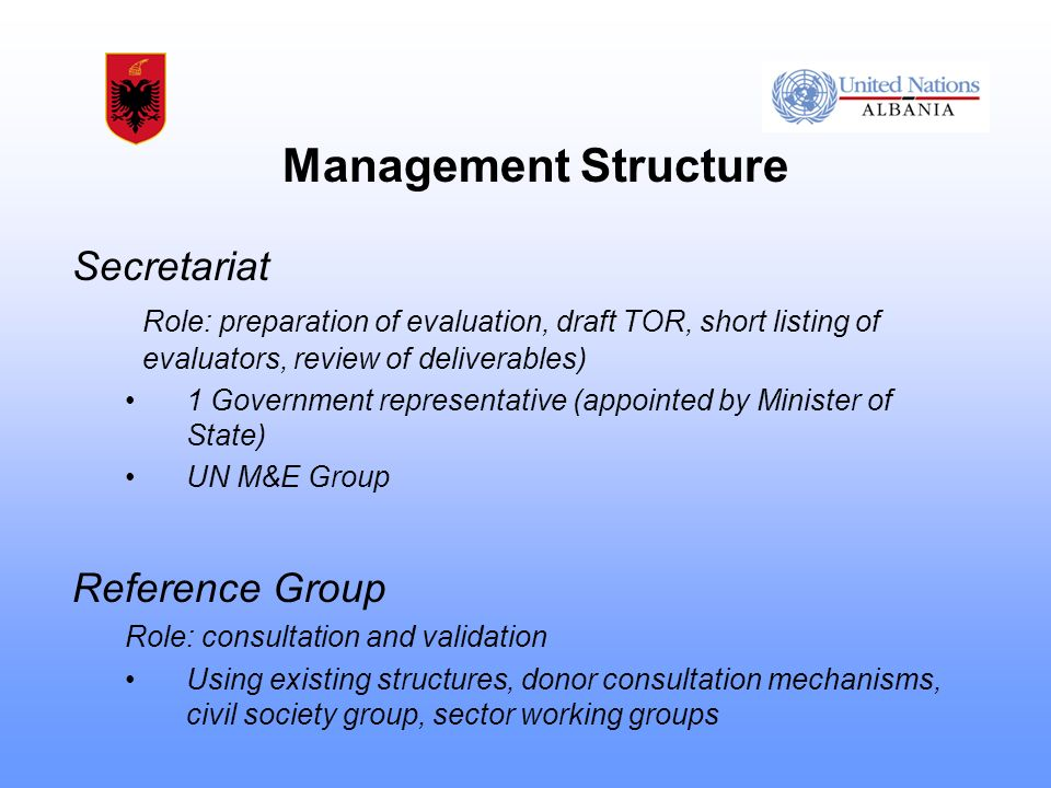 Management Structure Secretariat Role: preparation of evaluation, draft TOR, short listing of evaluators, review of deliverables) 1 Government representative (appointed by Minister of State) UN M&E Group Reference Group Role: consultation and validation Using existing structures, donor consultation mechanisms, civil society group, sector working groups