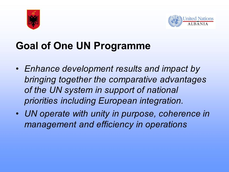 Goal of One UN Programme Enhance development results and impact by bringing together the comparative advantages of the UN system in support of national priorities including European integration.