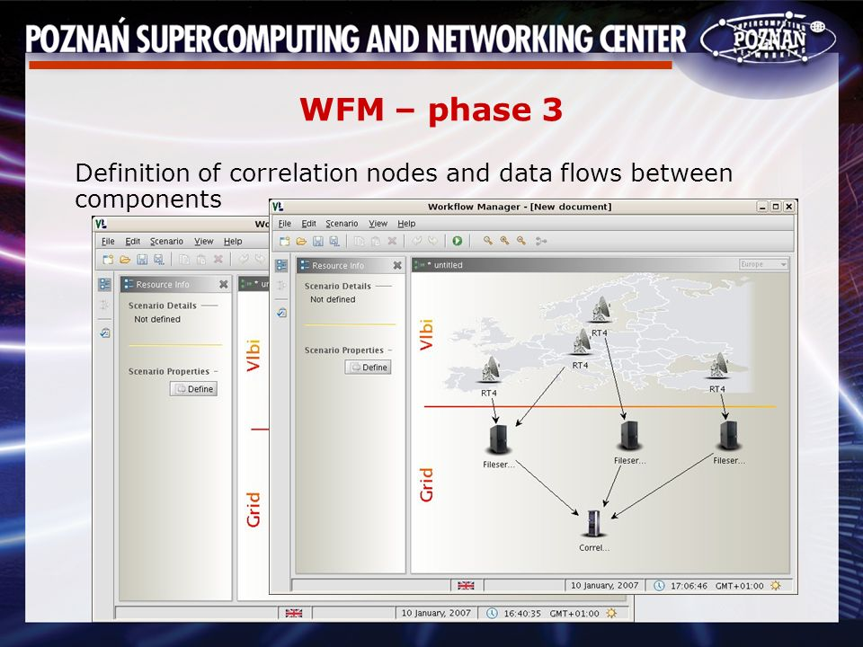 WFM – phase 3 Definition of correlation nodes and data flows between components