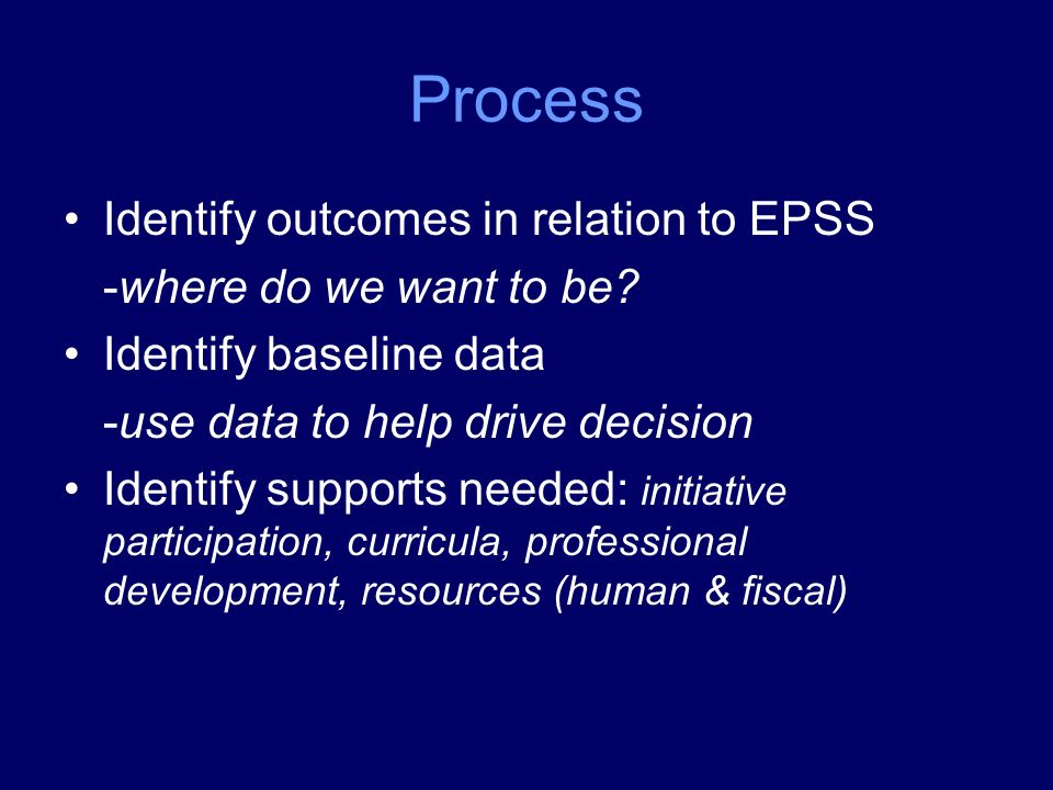 Process Identify outcomes in relation to EPSS -where do we want to be.