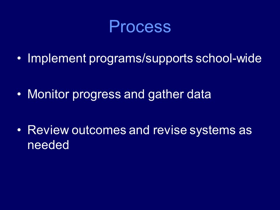 Process Implement programs/supports school-wide Monitor progress and gather data Review outcomes and revise systems as needed