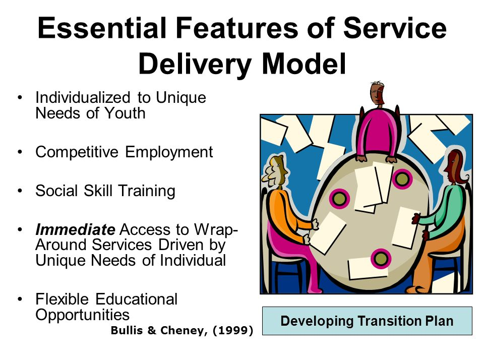 Essential Features of Service Delivery Model Individualized to Unique Needs of Youth Competitive Employment Social Skill Training Immediate Access to Wrap- Around Services Driven by Unique Needs of Individual Flexible Educational Opportunities Bullis & Cheney, (1999) Developing Transition Plan