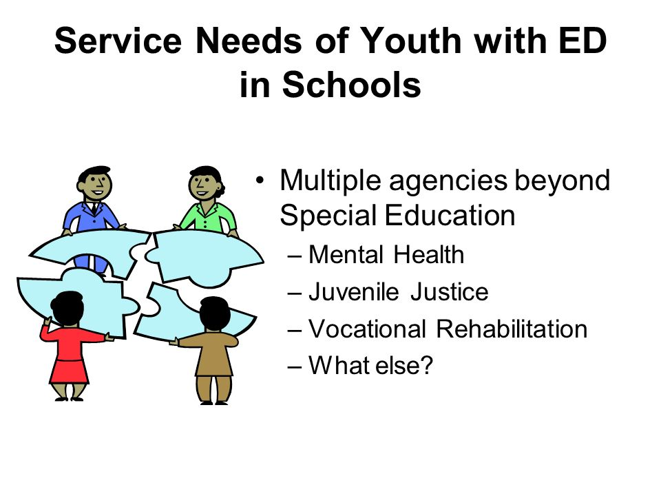 Service Needs of Youth with ED in Schools Multiple agencies beyond Special Education –Mental Health –Juvenile Justice –Vocational Rehabilitation –What else