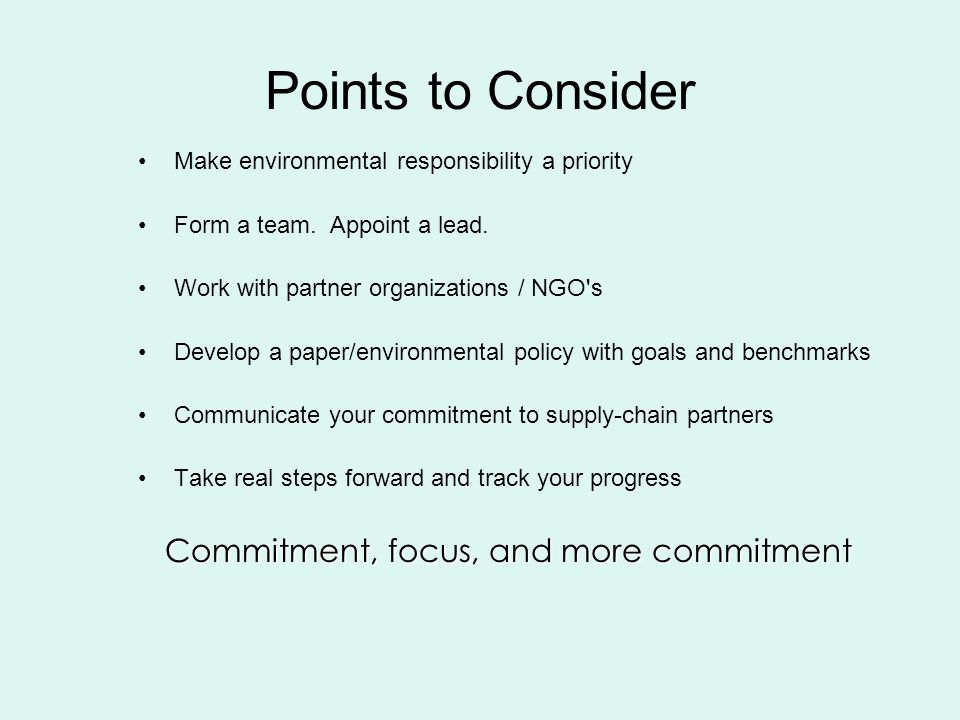 Points to Consider Make environmental responsibility a priority Form a team.