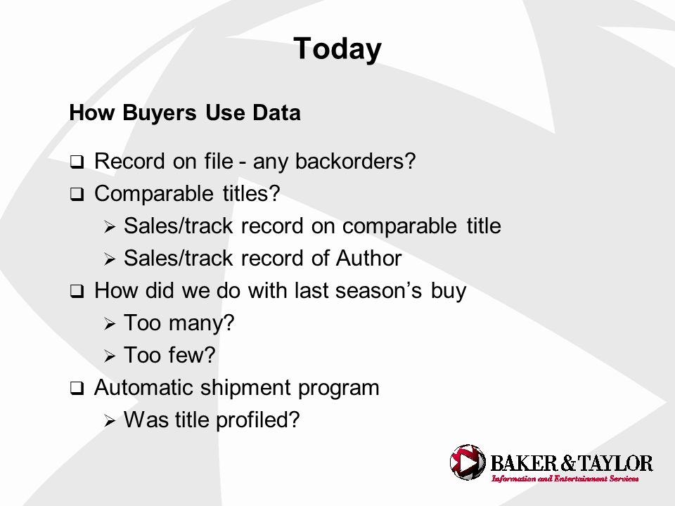 Today How Buyers Use Data Record on file - any backorders.