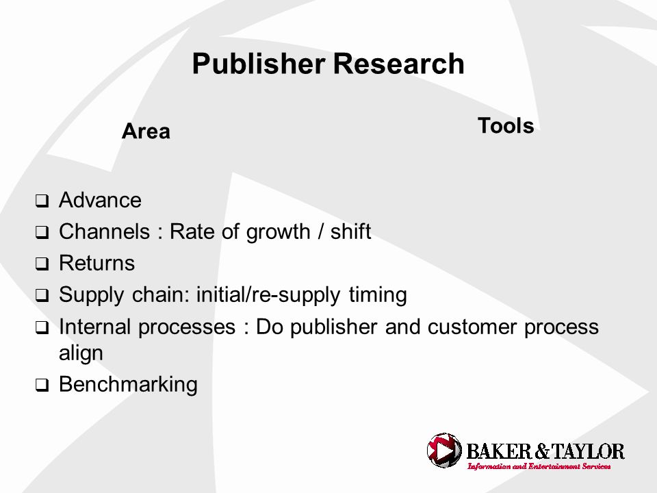 Publisher Research Advance Channels : Rate of growth / shift Returns Supply chain: initial/re-supply timing Internal processes : Do publisher and customer process align Benchmarking Area Tools