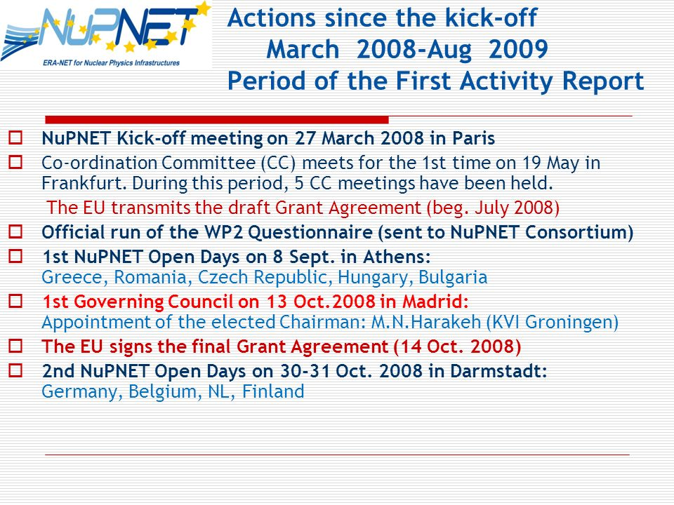Actions since the kick-off March 2008-Aug 2009 Period of the First Activity Report NuPNET Kick-off meeting on 27 March 2008 in Paris Co-ordination Committee (CC) meets for the 1st time on 19 May in Frankfurt.