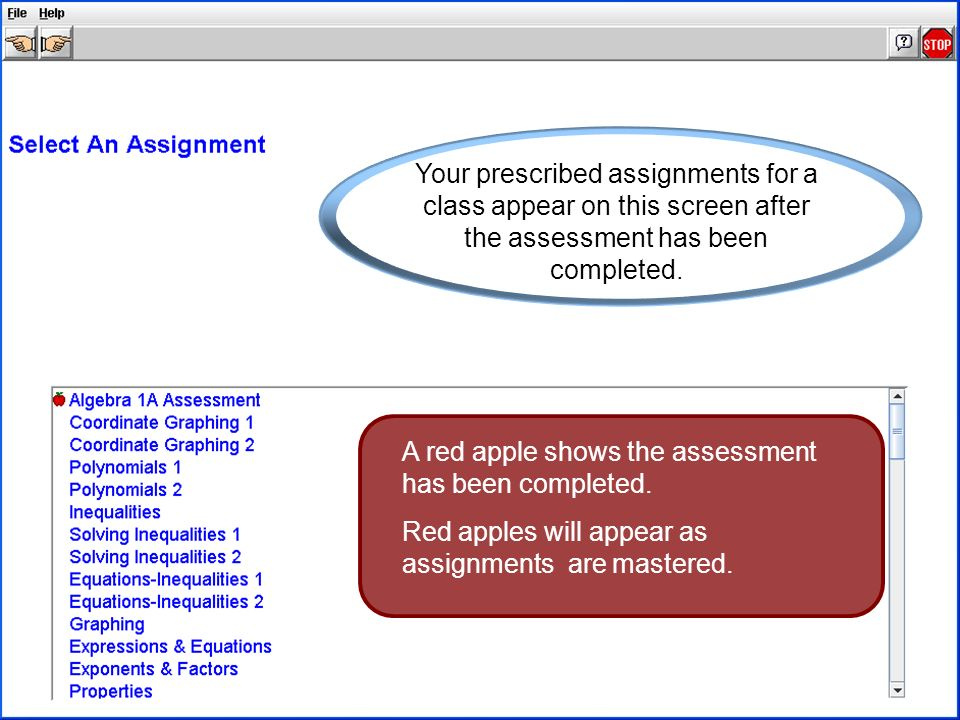 A red apple shows the assessment has been completed.