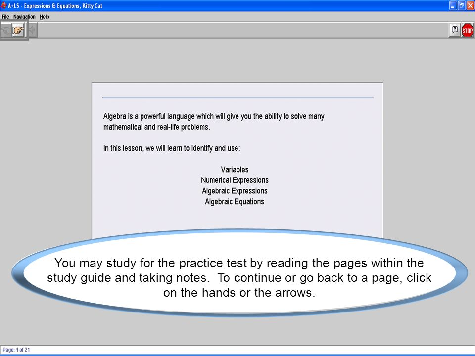 You may study for the practice test by reading the pages within the study guide and taking notes.