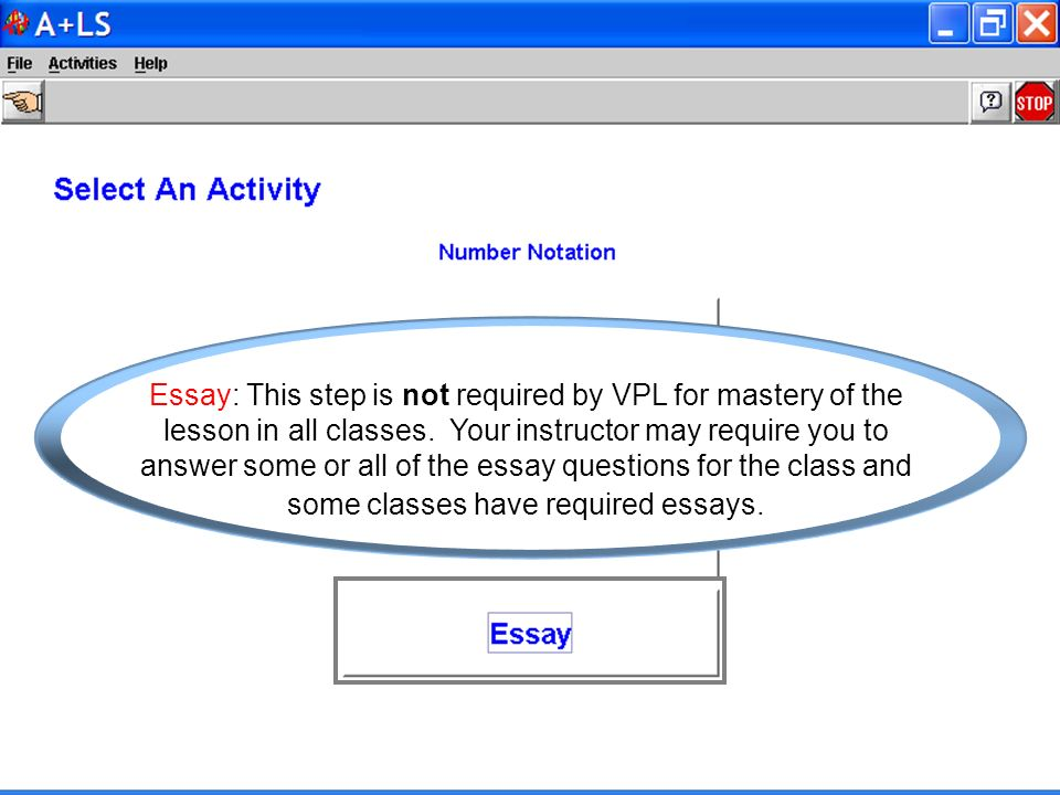 Essay: This step is not required by VPL for mastery of the lesson in all classes.