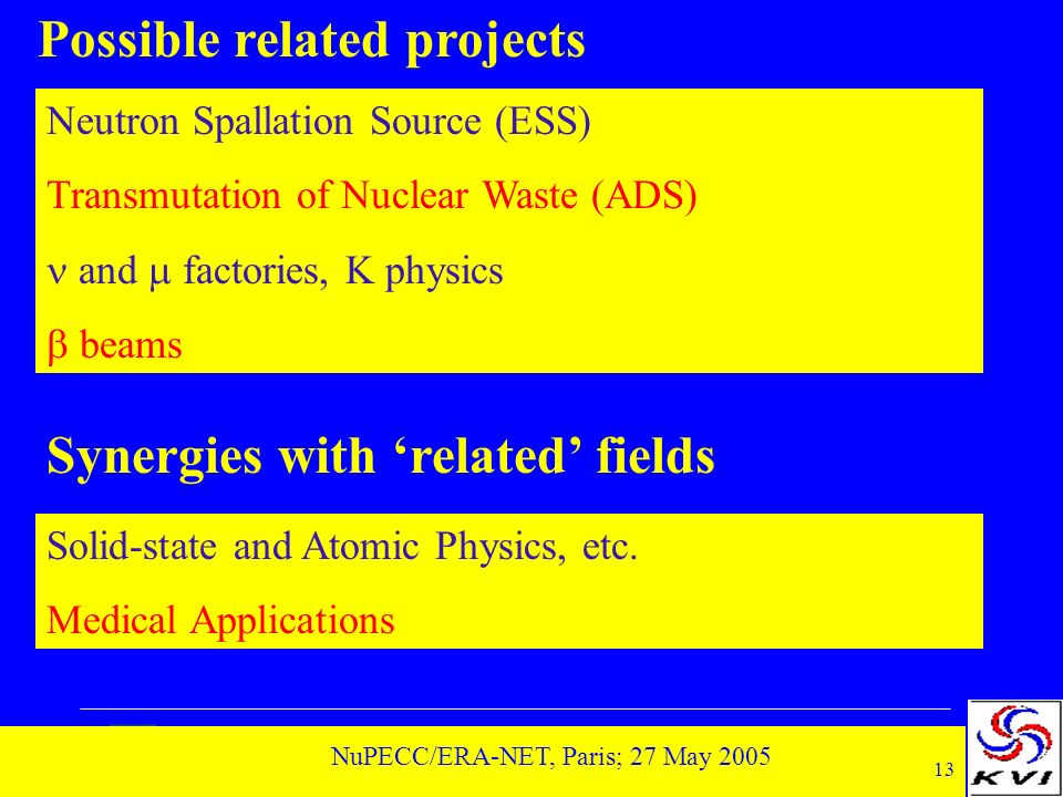 13 NuPECC/ERA-NET, Paris; 27 May 2005 Possible related projects Neutron Spallation Source (ESS) Transmutation of Nuclear Waste (ADS) and factories, K physics beams Synergies with related fields Solid-state and Atomic Physics, etc.