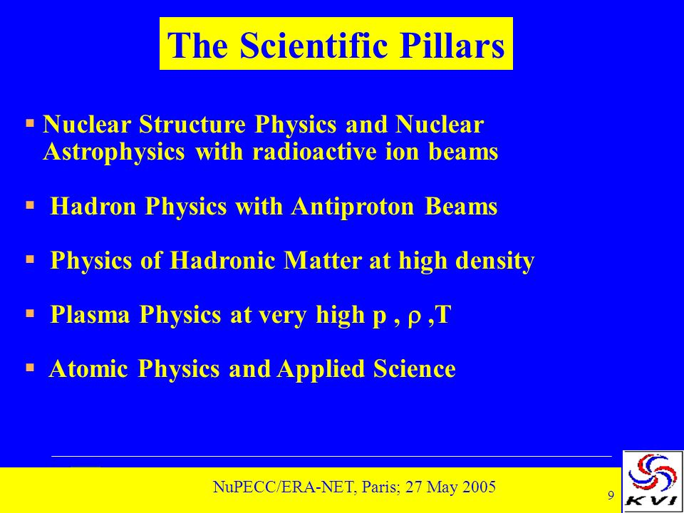 9 NuPECC/ERA-NET, Paris; 27 May 2005 Nuclear Structure Physics and Nuclear Astrophysics with radioactive ion beams Hadron Physics with Antiproton Beams Physics of Hadronic Matter at high density Plasma Physics at very high p,,T Atomic Physics and Applied Science The Scientific Pillars