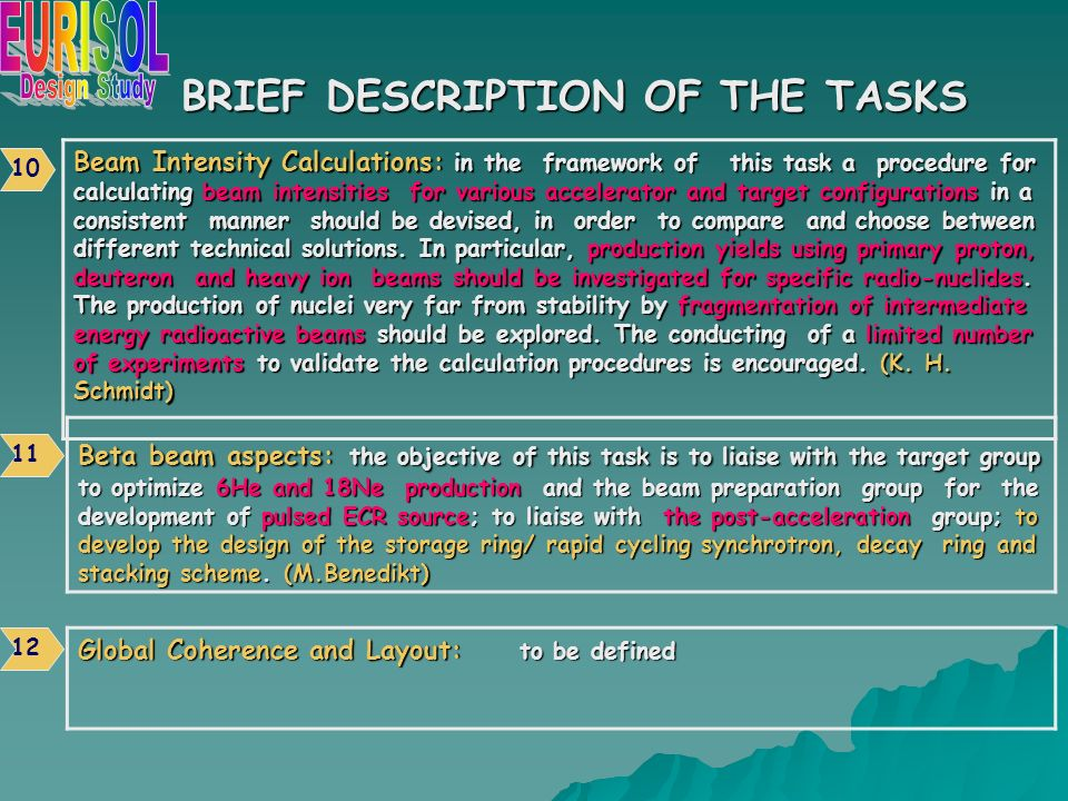 BRIEF DESCRIPTION OF THE TASKS Beta beam aspects: the objective of this task is to liaise with the target group to optimize 6He and 18Ne production and the beam preparation group for the development of pulsed ECR source; to liaise with the post-acceleration group; to develop the design of the storage ring/ rapid cycling synchrotron, decay ring and stacking scheme.