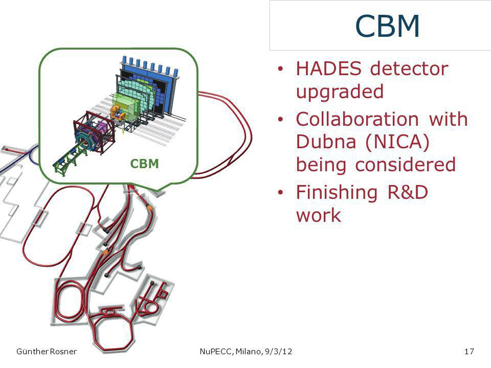 CBM HADES detector upgraded Collaboration with Dubna (NICA) being considered Finishing R&D work Günther RosnerNuPECC, Milano, 9/3/1217 CBM
