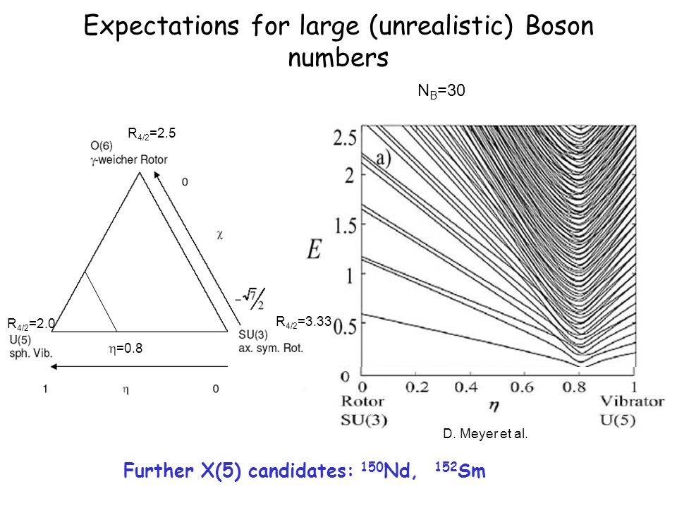 Expectations for large (unrealistic) Boson numbers Further X(5) candidates: 150 Nd, 152 Sm N B =30 R 4/2 =2.0 R 4/2 =3.33 R 4/2 =2.5 =0.8 D.