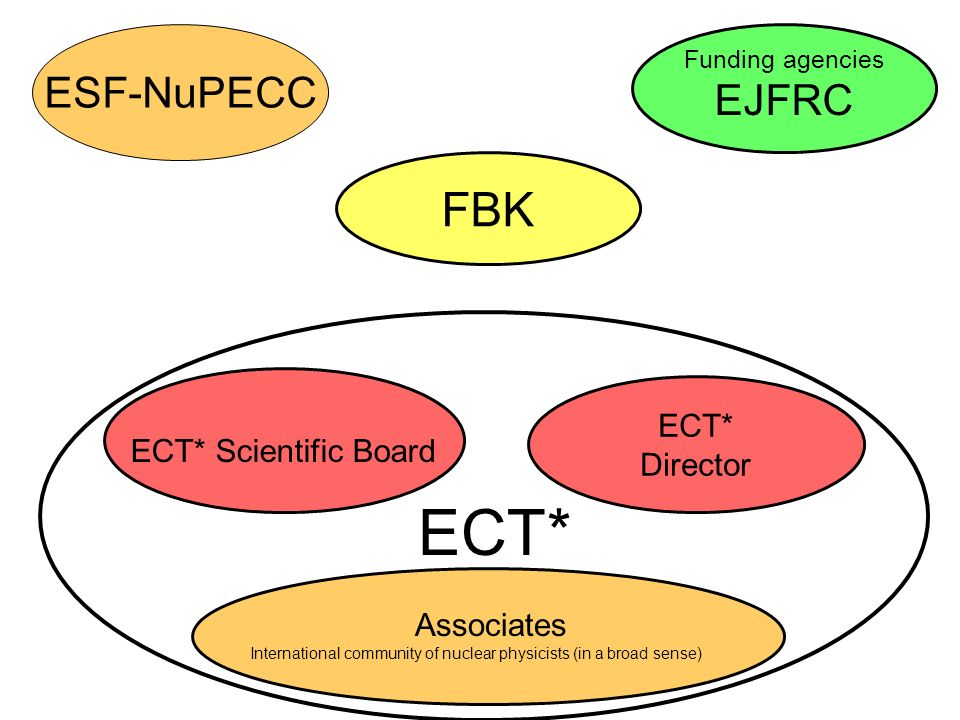 FBK ECT* Director ECT* Scientific Board Associates International community of nuclear physicists (in a broad sense) Funding agencies EJFRC ESF-NuPECC ECT*