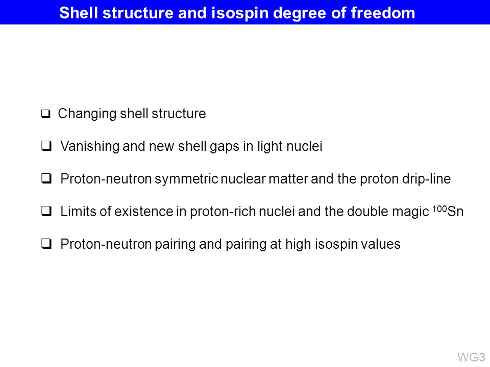 Changing shell structure Vanishing and new shell gaps in light nuclei Proton-neutron symmetric nuclear matter and the proton drip-line Limits of existence in proton-rich nuclei and the double magic 100 Sn Proton-neutron pairing and pairing at high isospin values Shell structure and isospin degree of freedom WG3