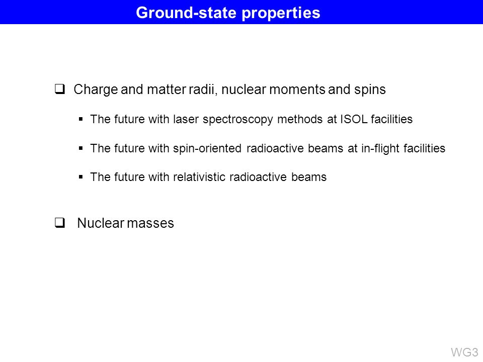 Charge and matter radii, nuclear moments and spins The future with laser spectroscopy methods at ISOL facilities The future with spin-oriented radioactive beams at in-flight facilities The future with relativistic radioactive beams Nuclear masses WG3 Ground-state properties