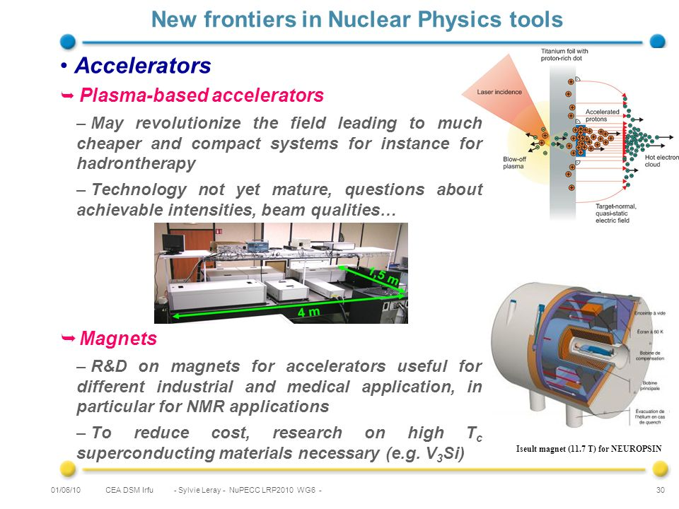 CEA DSM Irfu - Sylvie Leray - NuPECC LRP2010 WG6 - 30 New frontiers in Nuclear Physics tools Accelerators Plasma-based accelerators –May revolutionize the field leading to much cheaper and compact systems for instance for hadrontherapy –Technology not yet mature, questions about achievable intensities, beam qualities… Magnets –R&D on magnets for accelerators useful for different industrial and medical application, in particular for NMR applications –To reduce cost, research on high T c superconducting materials necessary (e.g.