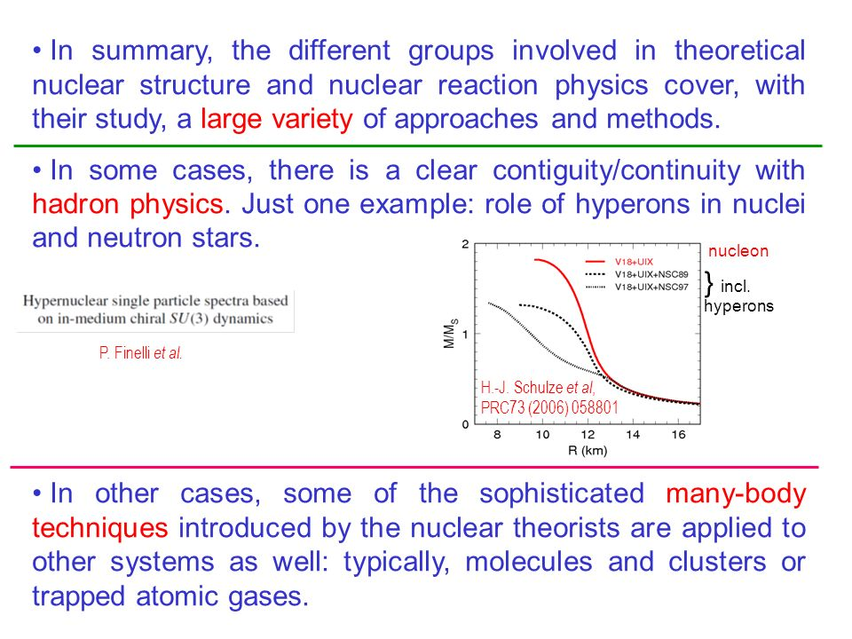 In summary, the different groups involved in theoretical nuclear structure and nuclear reaction physics cover, with their study, a large variety of approaches and methods.