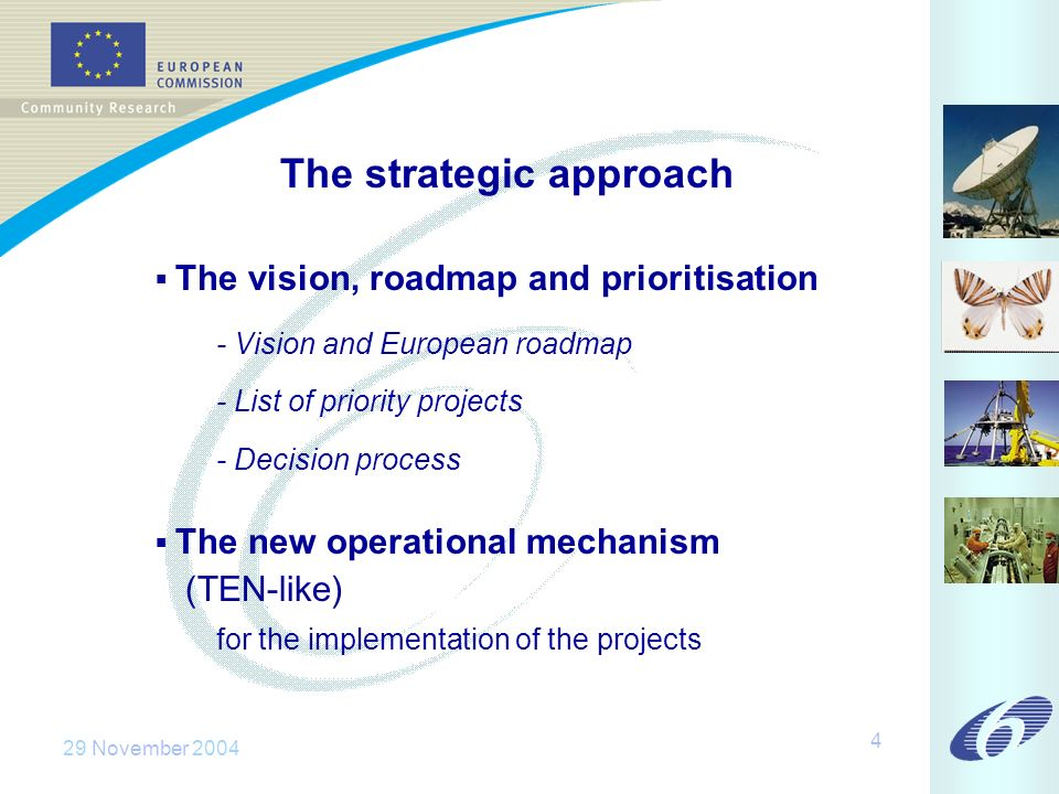 29 November The strategic approach The vision, roadmap and prioritisation - Vision and European roadmap - List of priority projects - Decision process The new operational mechanism (TEN-like) for the implementation of the projects