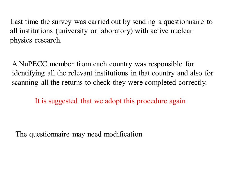 Last time the survey was carried out by sending a questionnaire to all institutions (university or laboratory) with active nuclear physics research.