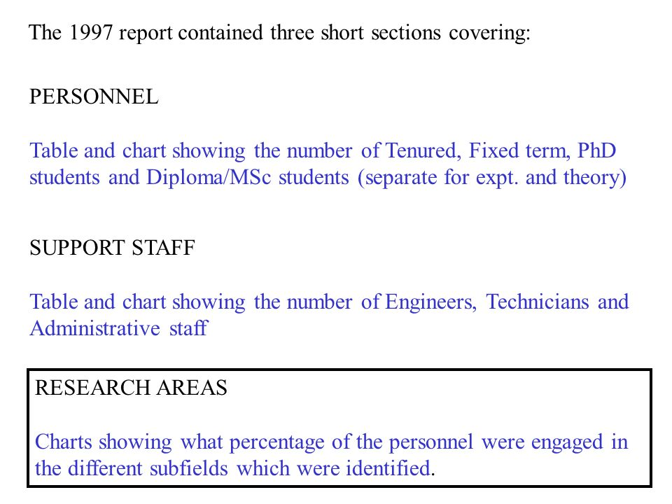 The 1997 report contained three short sections covering: PERSONNEL Table and chart showing the number of Tenured, Fixed term, PhD students and Diploma/MSc students (separate for expt.