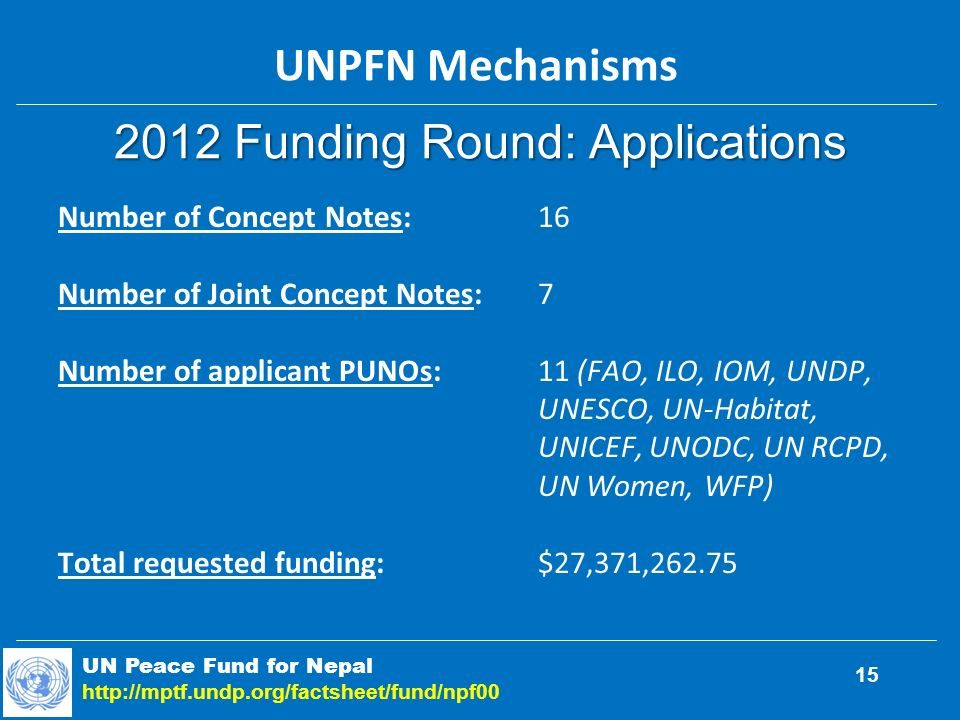 2012 Funding Round: Applications UN Peace Fund for Nepal http://mptf.undp.org/factsheet/fund/npf00 15 Number of Concept Notes:16 Number of Joint Concept Notes:7 Number of applicant PUNOs:11 (FAO, ILO, IOM, UNDP, UNESCO, UN-Habitat, UNICEF, UNODC, UN RCPD, UN Women, WFP) Total requested funding:$27,371,262.75 UNPFN Mechanisms