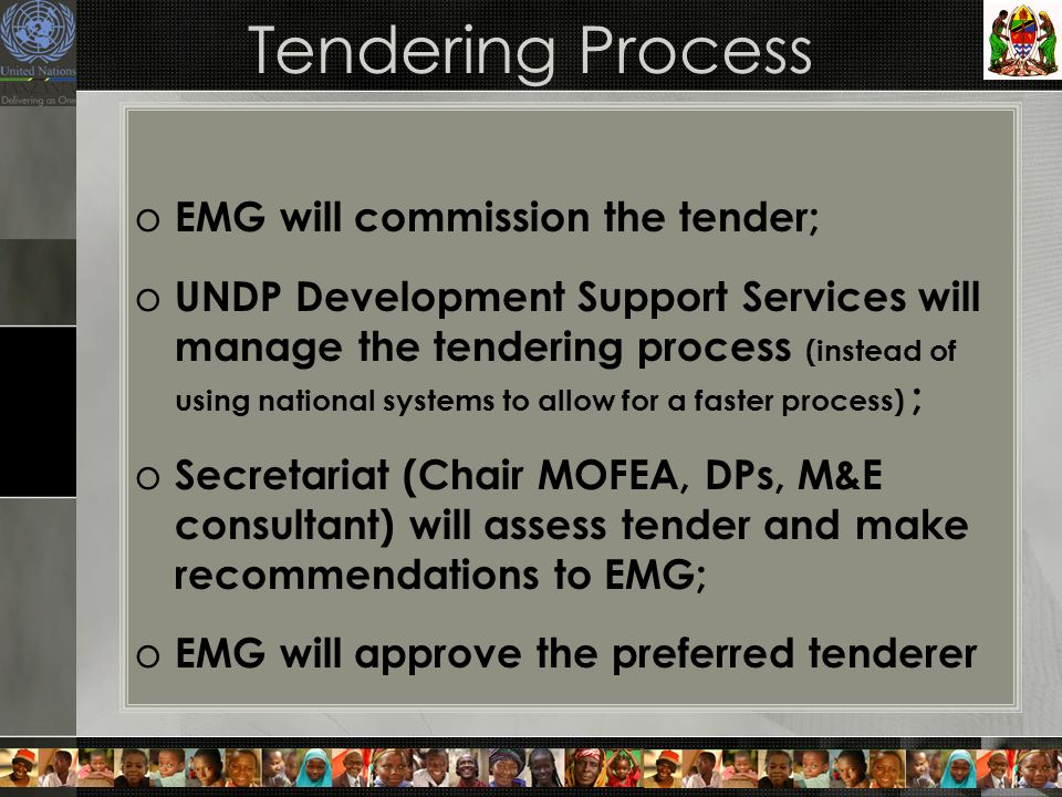 Tendering Process o EMG will commission the tender; o UNDP Development Support Services will manage the tendering process (instead of using national systems to allow for a faster process) ; o Secretariat (Chair MOFEA, DPs, M&E consultant) will assess tender and make recommendations to EMG; o EMG will approve the preferred tenderer