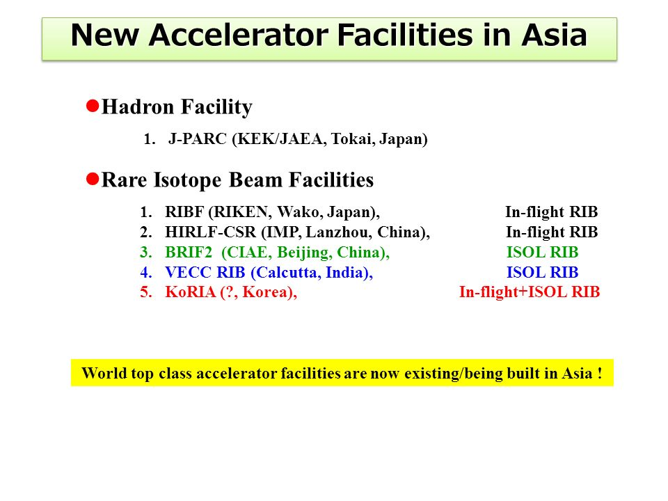Hadron Facility Rare Isotope Beam Facilities World top class accelerator facilities are now existing/being built in Asia .