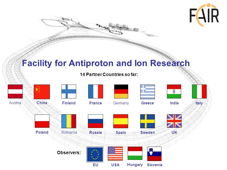 Facility for Antiproton and Ion Research 14 Partner Countries so far: Observers: Austria China Finland France Germany Greece India Italy Poland Romania Russia Spain Sweden UK EU USA Hungary Slovenia