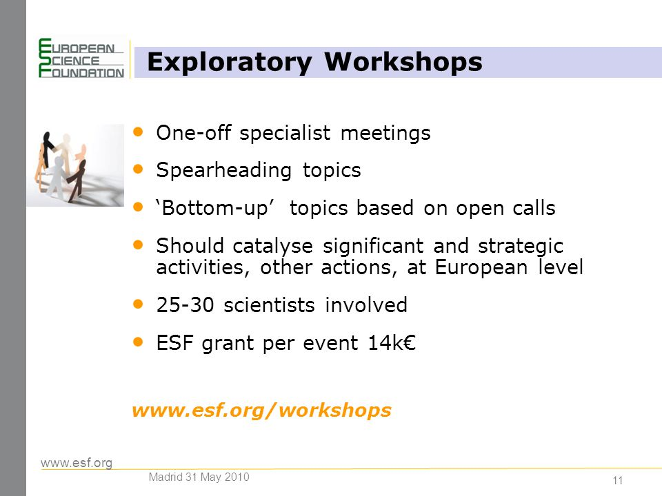 11 One-off specialist meetings Spearheading topics Bottom-up topics based on open calls Should catalyse significant and strategic activities, other actions, at European level scientists involved ESF grant per event 14k   Exploratory Workshops Madrid 31 May 2010