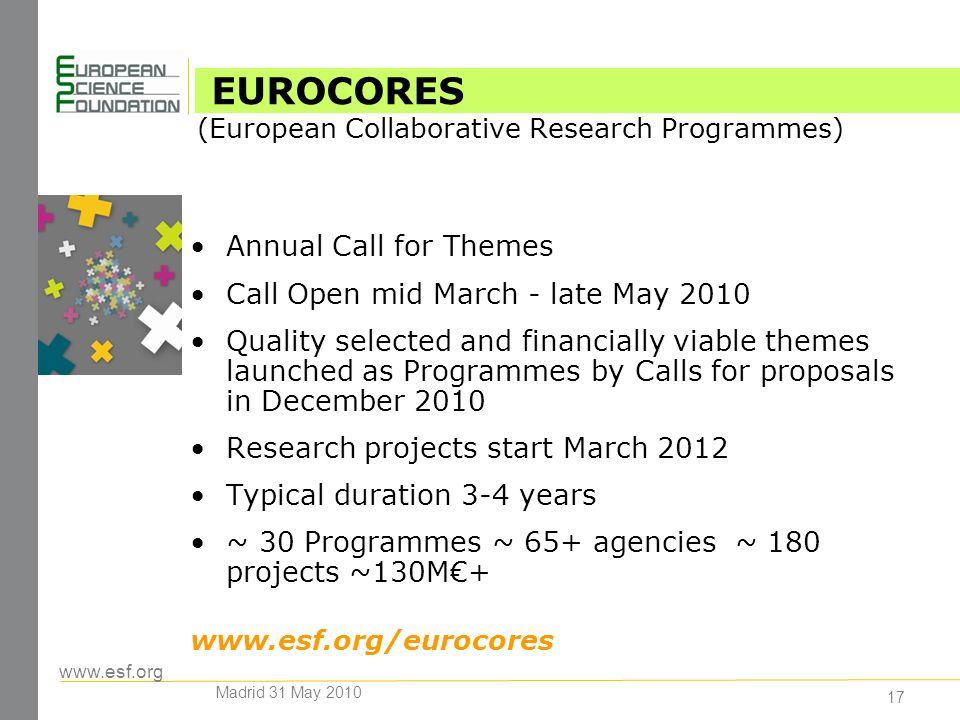 17 Annual Call for Themes Call Open mid March - late May 2010 Quality selected and financially viable themes launched as Programmes by Calls for proposals in December 2010 Research projects start March 2012 Typical duration 3-4 years ~ 30 Programmes ~ 65+ agencies ~ 180 projects ~130M+   EUROCORES (European Collaborative Research Programmes) Madrid 31 May 2010