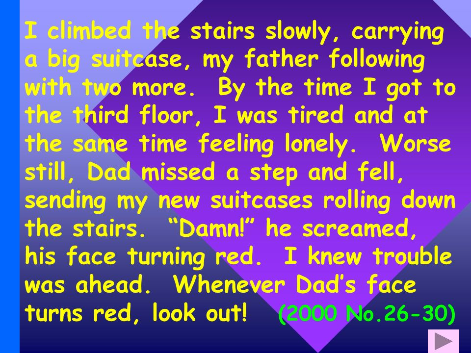 I climbed the stairs slowly, carrying a big suitcase, my father following with two more.