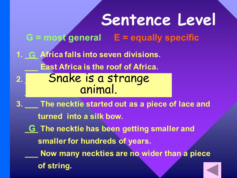 Sentence Level G = most general E = equally specific 1.
