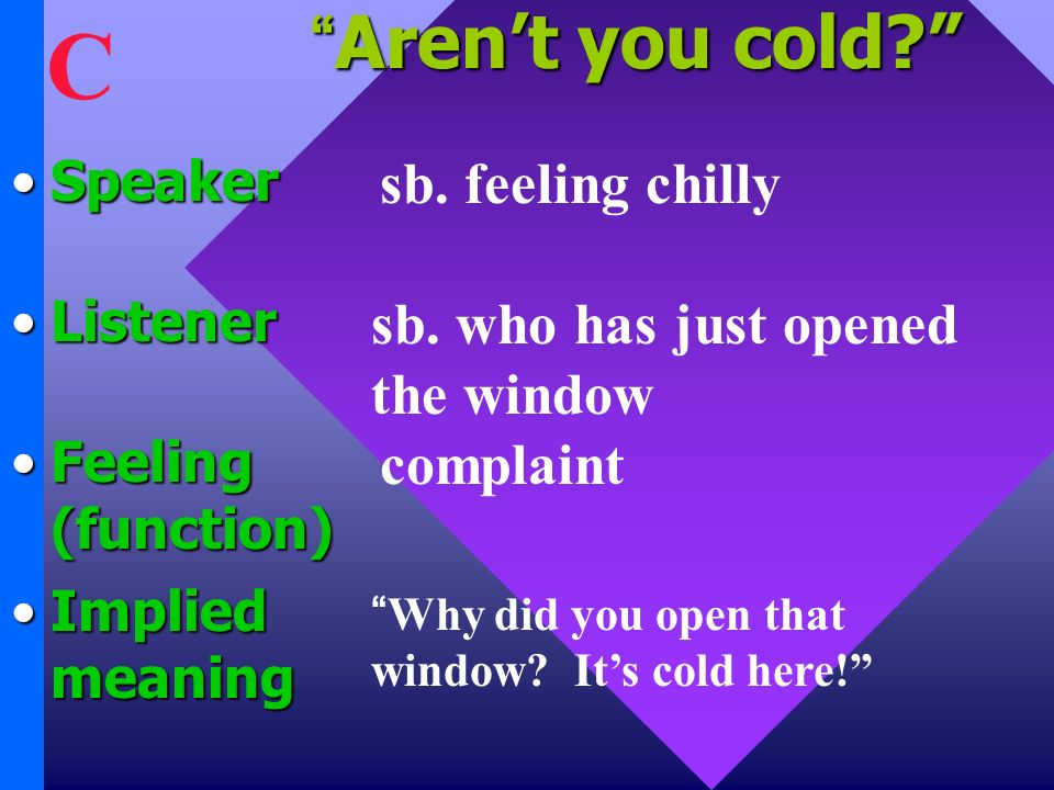 Arent you cold Arent you cold. SpeakerSpeaker Listener Feeling (function) Implied meaning sb.