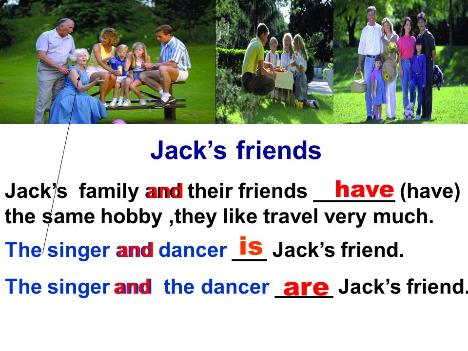 Jacks friends Jacks family and their friends _______ (have) the same hobby,they like travel very much.
