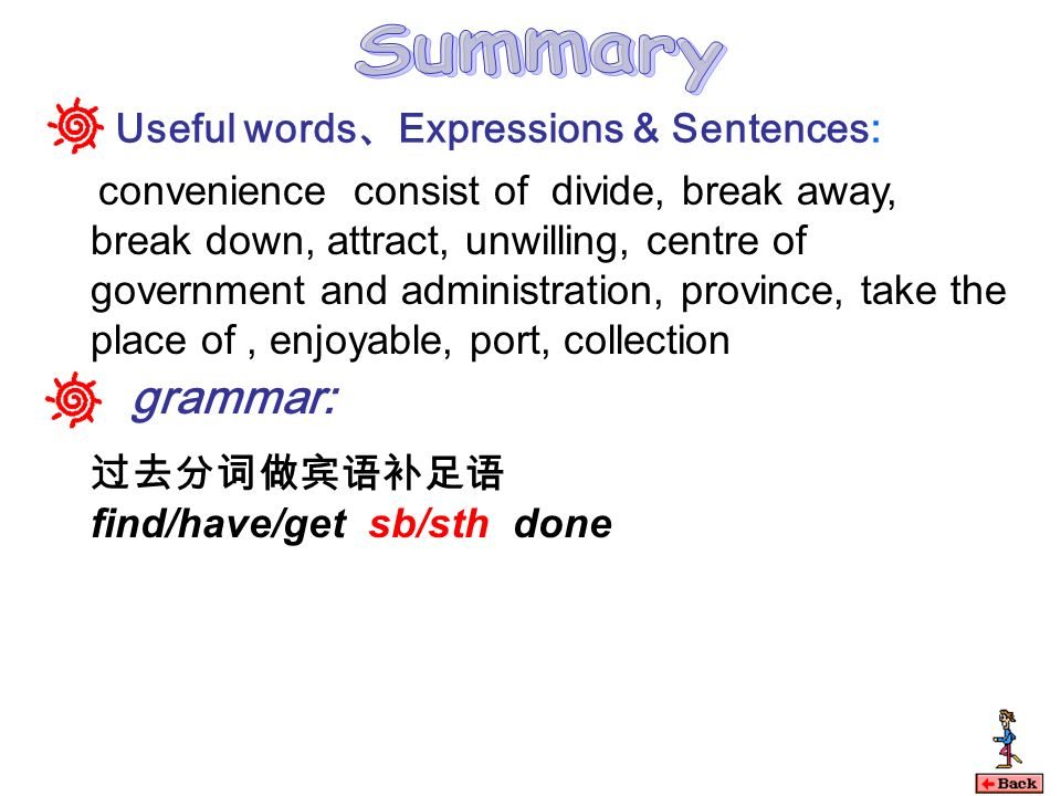 Useful words Expressions & Sentences: grammar: convenience consist of divide, break away, break down, attract, unwilling, centre of government and administration, province, take the place of, enjoyable, port, collection find/have/get sb/sth done