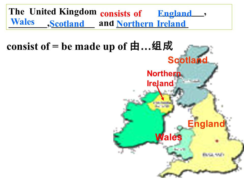 England Wales Scotland Northern Ireland The United Kingdom is made up of _________, ________, _________ and _______________ E ngland Wales ScotlandNorthern Ireland consists of consist of = be made up of …