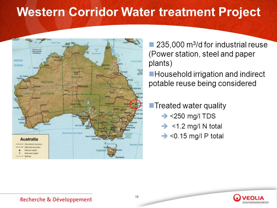 19 Western Corridor Water treatment Project 235,000 m 3 /d for industrial reuse (Power station, steel and paper plants) Household irrigation and indirect potable reuse being considered Treated water quality <250 mg/l TDS <1.2 mg/l N total <0.15 mg/l P total