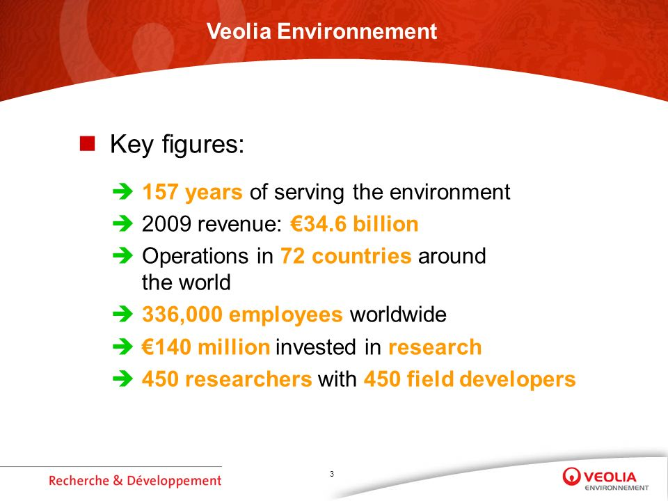 3 Key figures: 157 years of serving the environment 2009 revenue: 34.6 billion Operations in 72 countries around the world 336,000 employees worldwide 140 million invested in research 450 researchers with 450 field developers Veolia Environnement