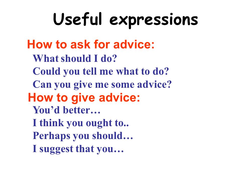 Useful expressions What should I do. Could you tell me what to do.