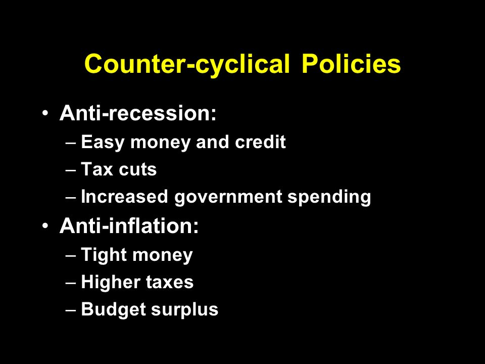 Counter-cyclical Policies Anti-recession: –Easy money and credit –Tax cuts –Increased government spending Anti-inflation: –Tight money –Higher taxes –Budget surplus
