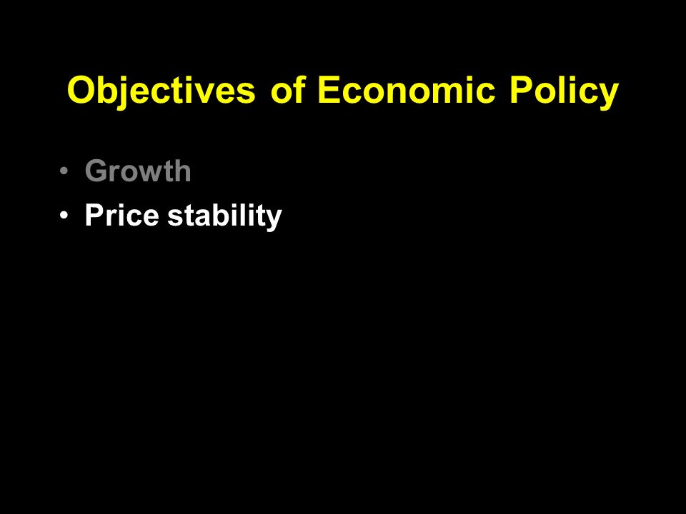 Objectives of Economic Policy Growth Price stability Employment Exchange rate Income distribution Reserves