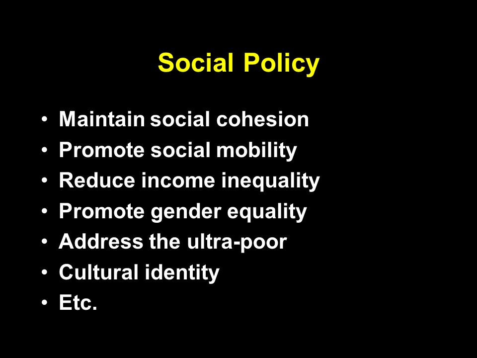 Social Policy Maintain social cohesion Promote social mobility Reduce income inequality Promote gender equality Address the ultra-poor Cultural identity Etc.